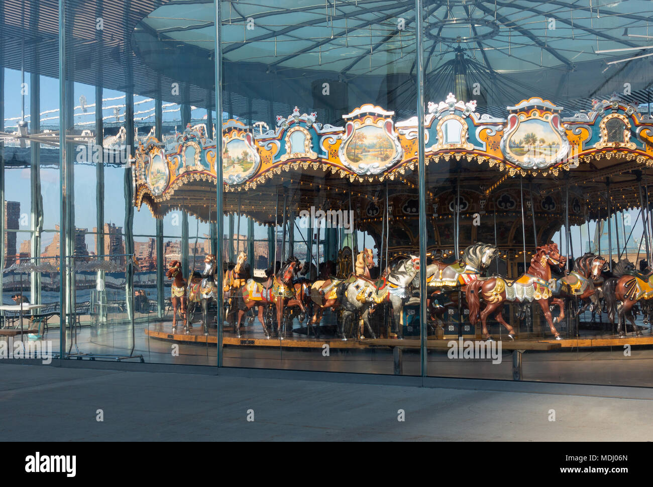 Jane's Carousel is shut down for the day - Stock Image