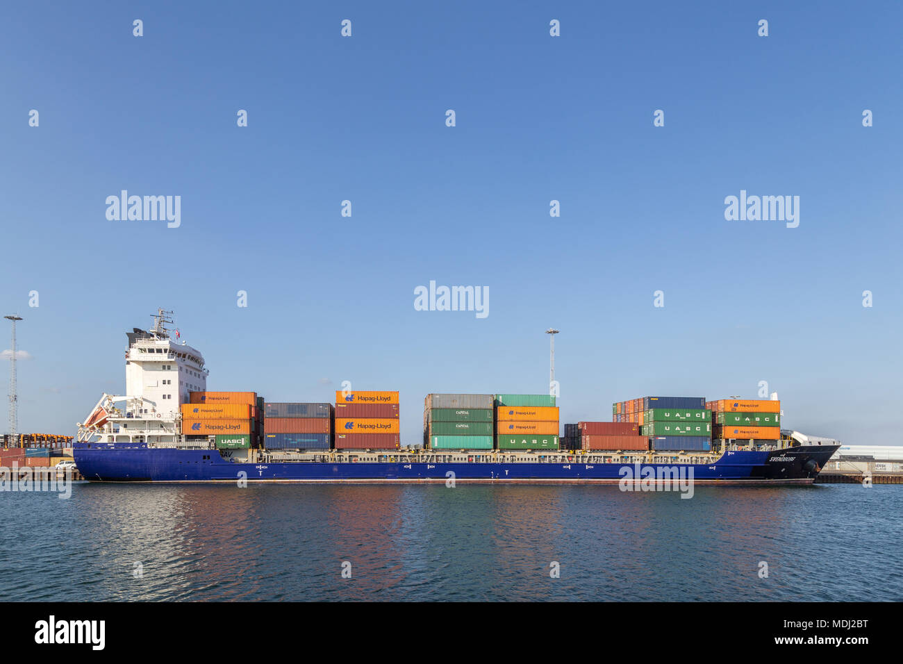 Container ship side view - Stock Image