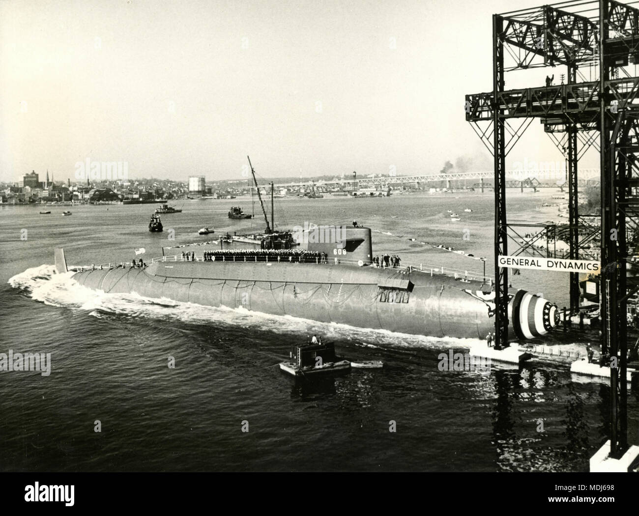 Launching of atomic-powered submarine Ethan Allen, Groton, Connecticut, USA 1960 - Stock Image
