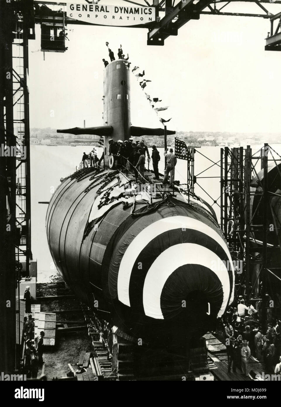 Launching of nuclear-powered submarine Skipjack, Groton, Connecticut, USA 1958 - Stock Image
