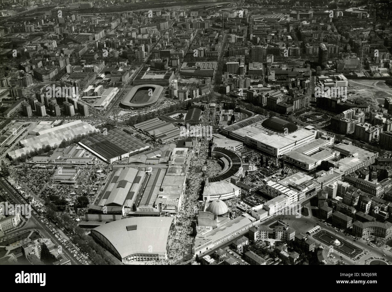 Aerial view of exposition area, Milan, Italy 1957 - Stock Image