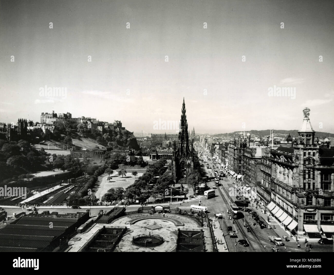 Aerial view of Prince Street, Edinburgh, Scotland 1956 - Stock Image
