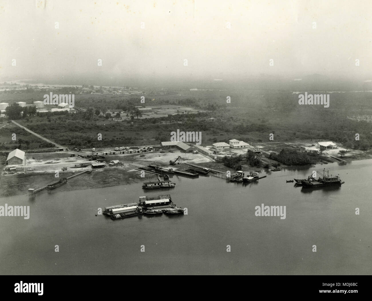 Shell-BP Petroleum Development Company water transport base, Port Harcourt, Nigeria 1950s - Stock Image