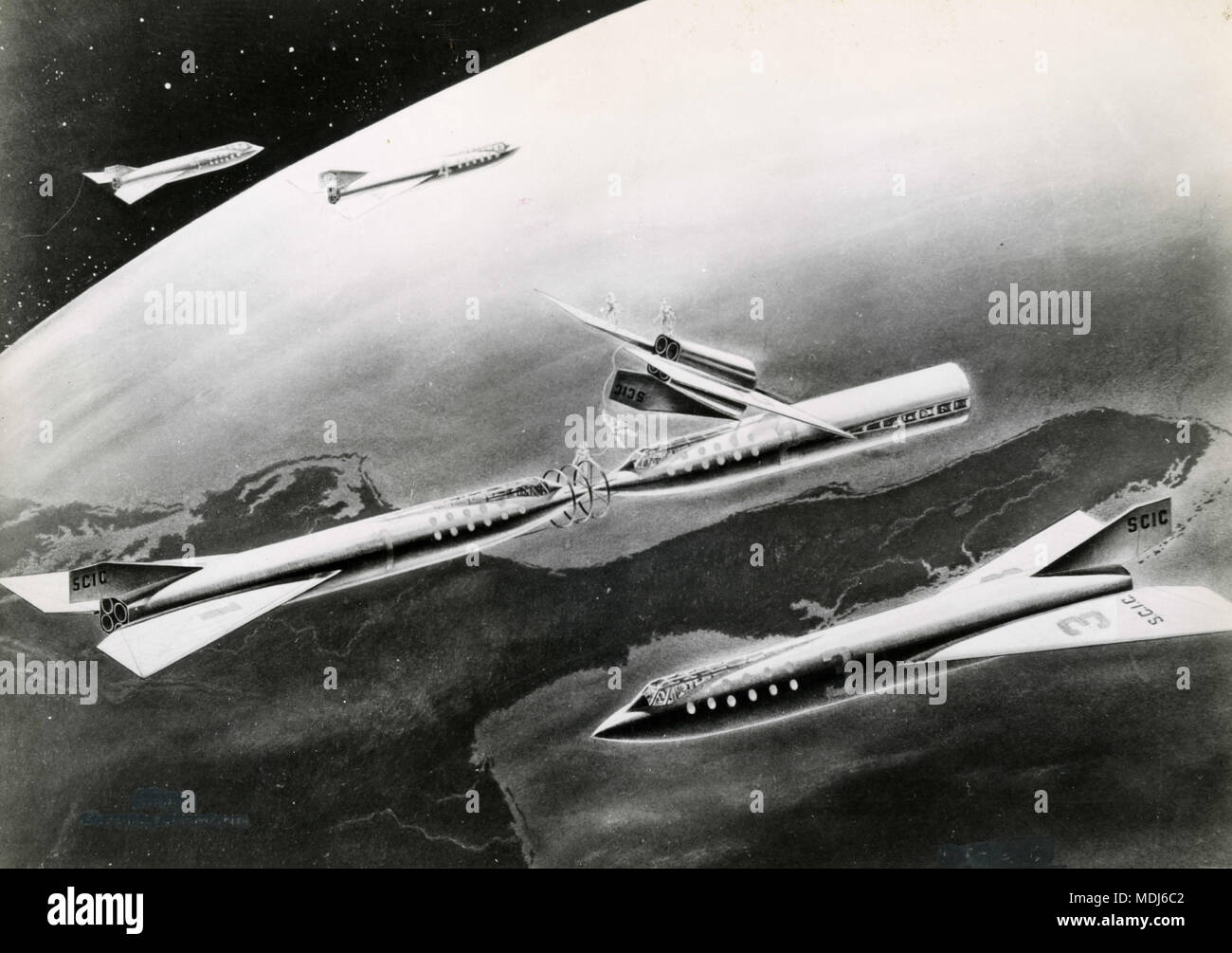 Graphical rendering of space vehicles, 1950s - Stock Image