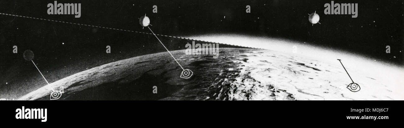 Graphical rendering of artificial satellites orbiting the earth, 1950s - Stock Image