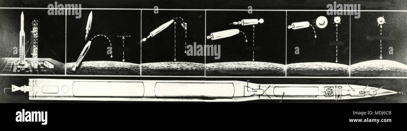 Graphical rendering of artificial satellites delivery by the rocket vector, 1950s - Stock Image