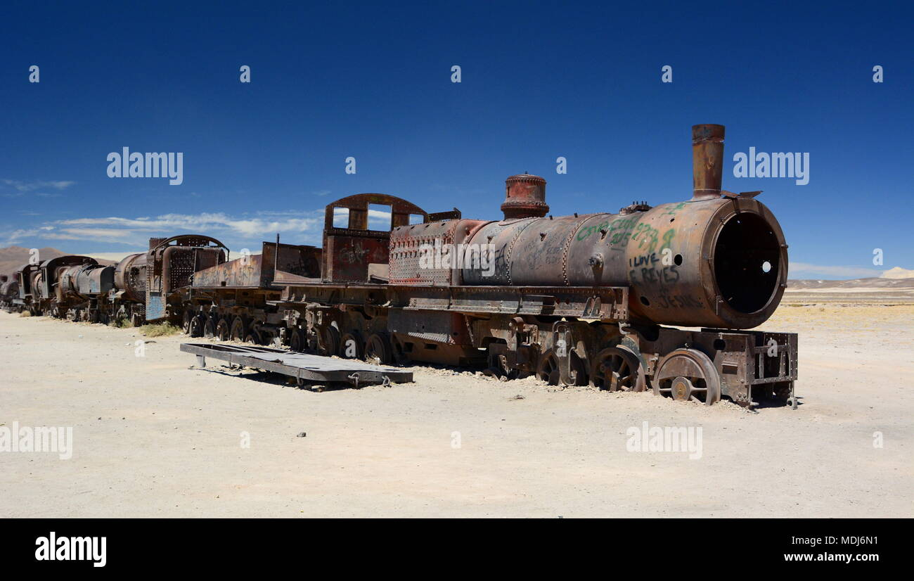 Antique train. Train cemetery. Uyuni. Bolivia - Stock Image