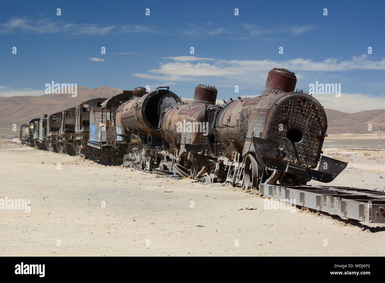 Abandoned train at Train cemetery. Uyuni. Bolivia - Stock Image