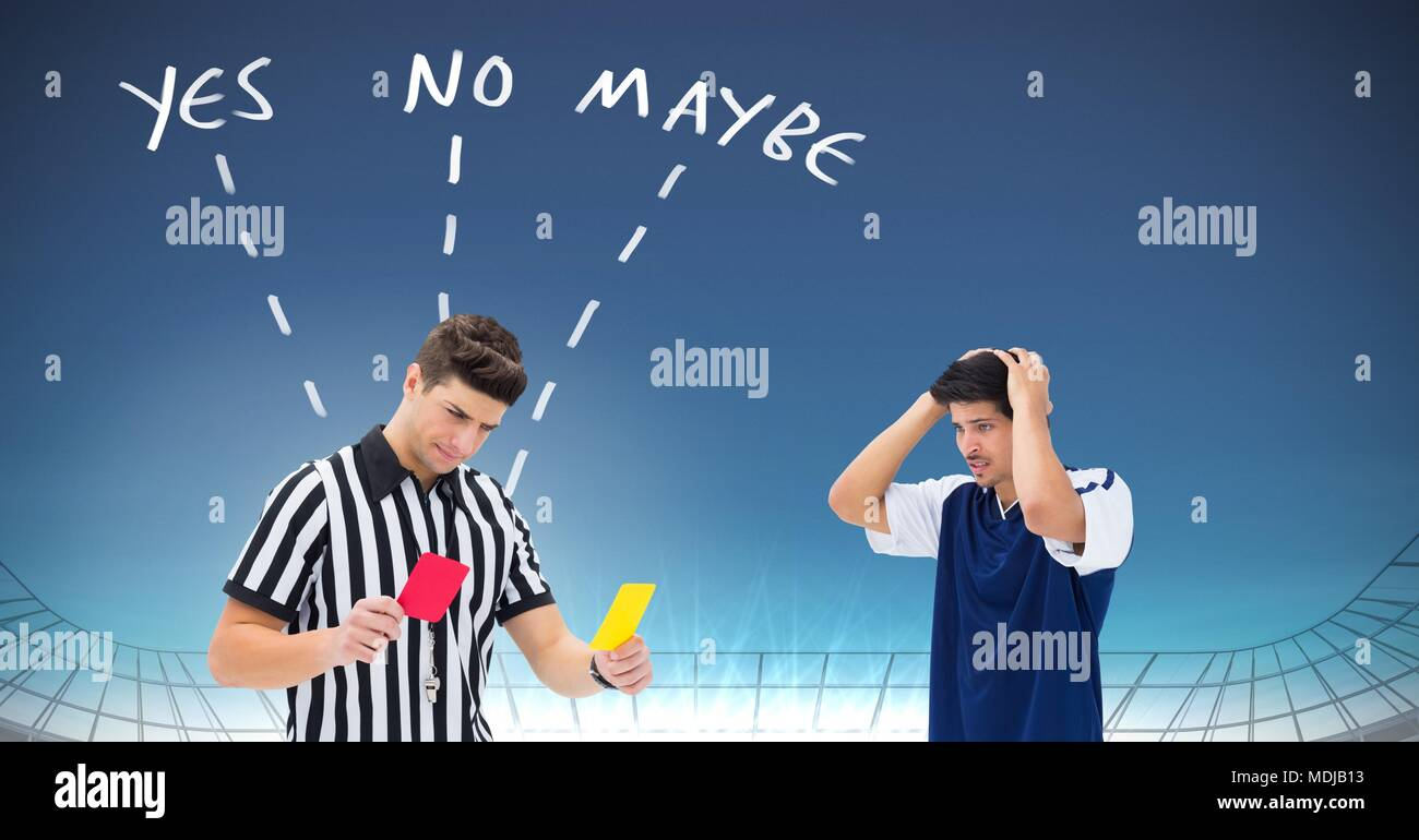 Referee giving player red or yellow card for foul and Yes No Maybe text with arrows graphic - Stock Image