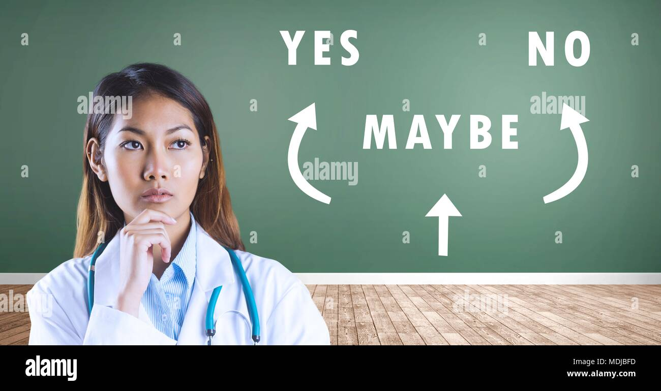 Doctor woman thinking Yes No Maybe text with arrows graphic on wall Stock Photo