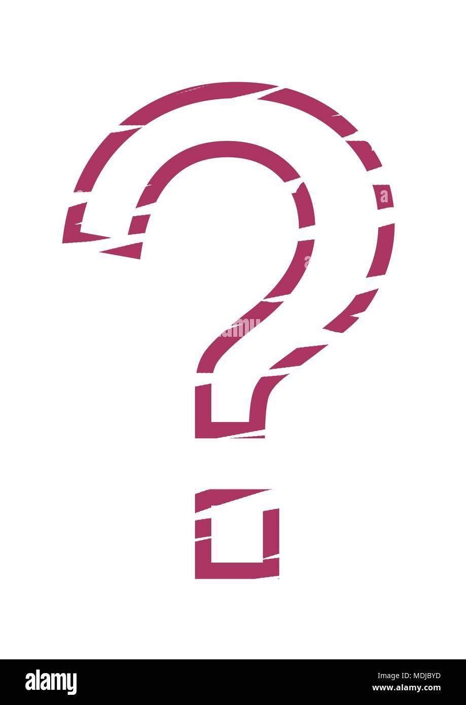 stencil question mark - Stock Image