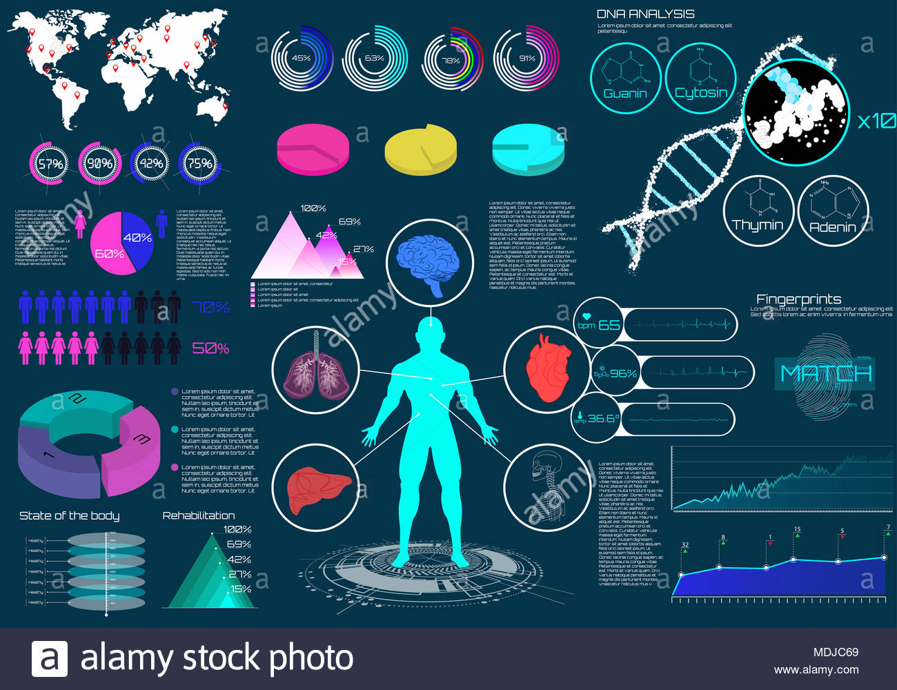Medical infographics set with virtual graphic heart scan human body medical infographics set with virtual graphic heart scan human body dna and electrocardiogram world map and healthcare elements vector illustration ccuart Images