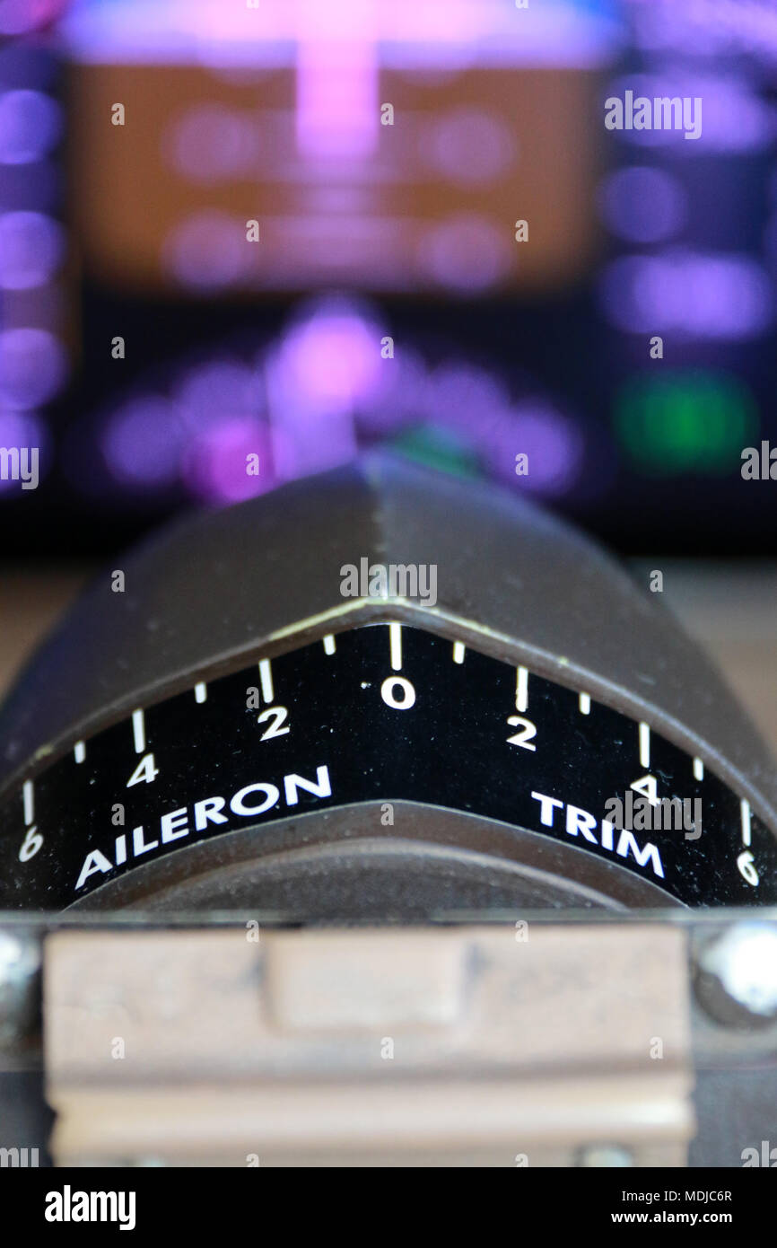 Aileron Trim Indication on the Flight Deck of a Boeing 747-400 - Stock Image