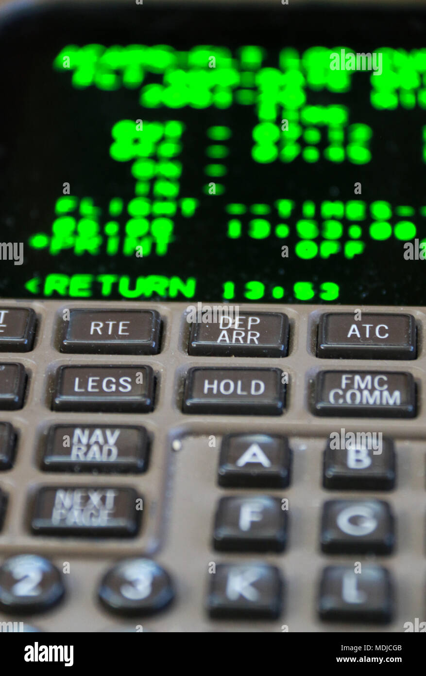 The Flight Management System on the Flight Deck of a Boeing 747-400 - Stock Image