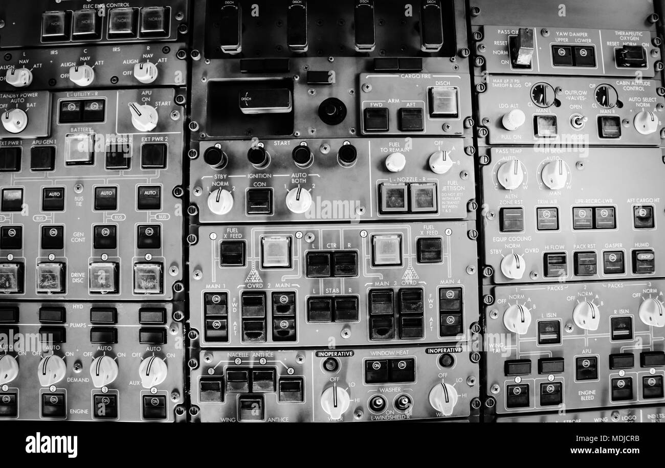 Overhead Panel in a Flight Deck of a Boeing 747-400 in flight - Stock Image