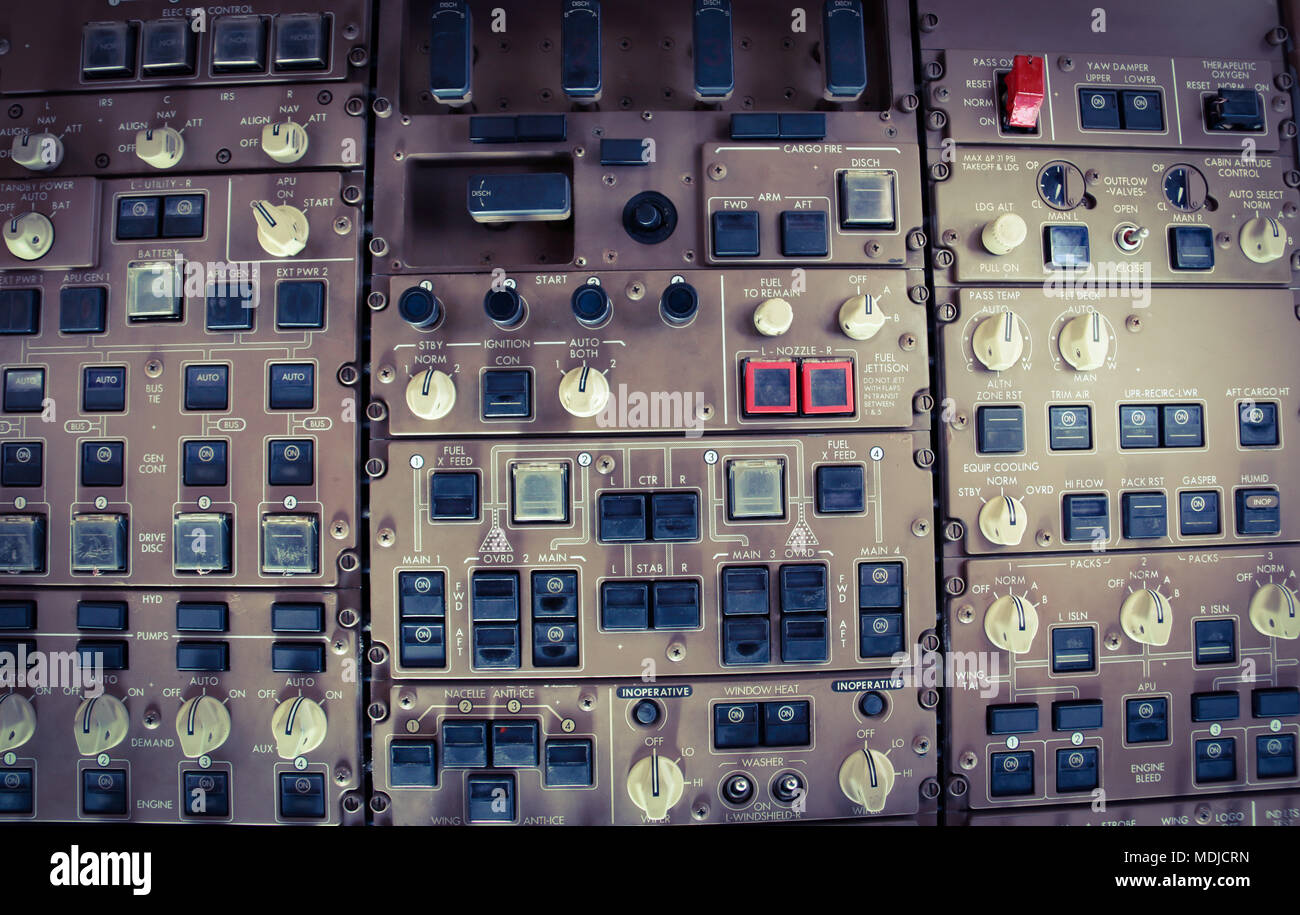 Overhead Panel in a Flight Deck of a Boeing 747-400 in