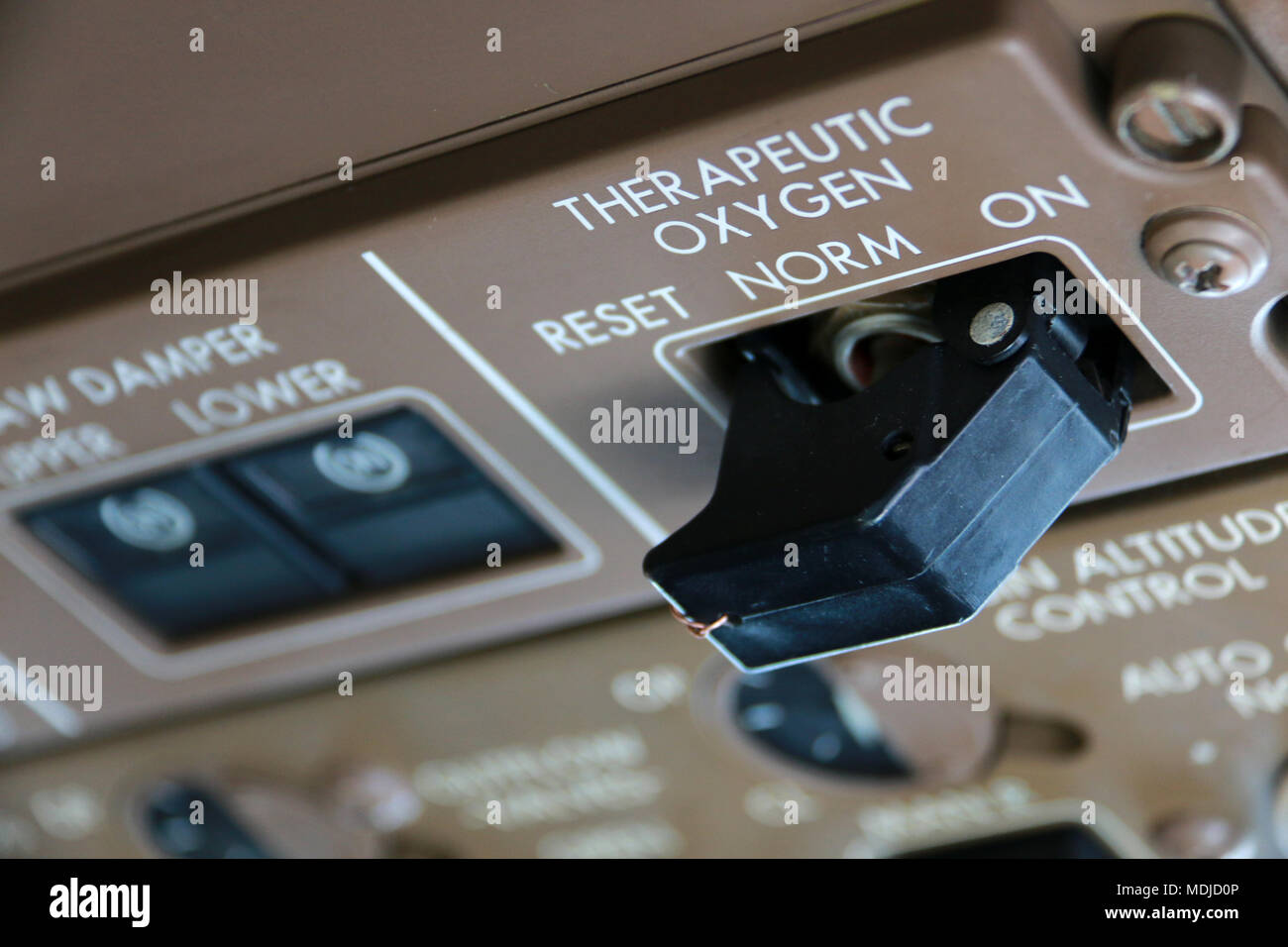 Therapeutic Oxygen System Control on a Flight Deck of a Boeing 747-400 - Stock Image
