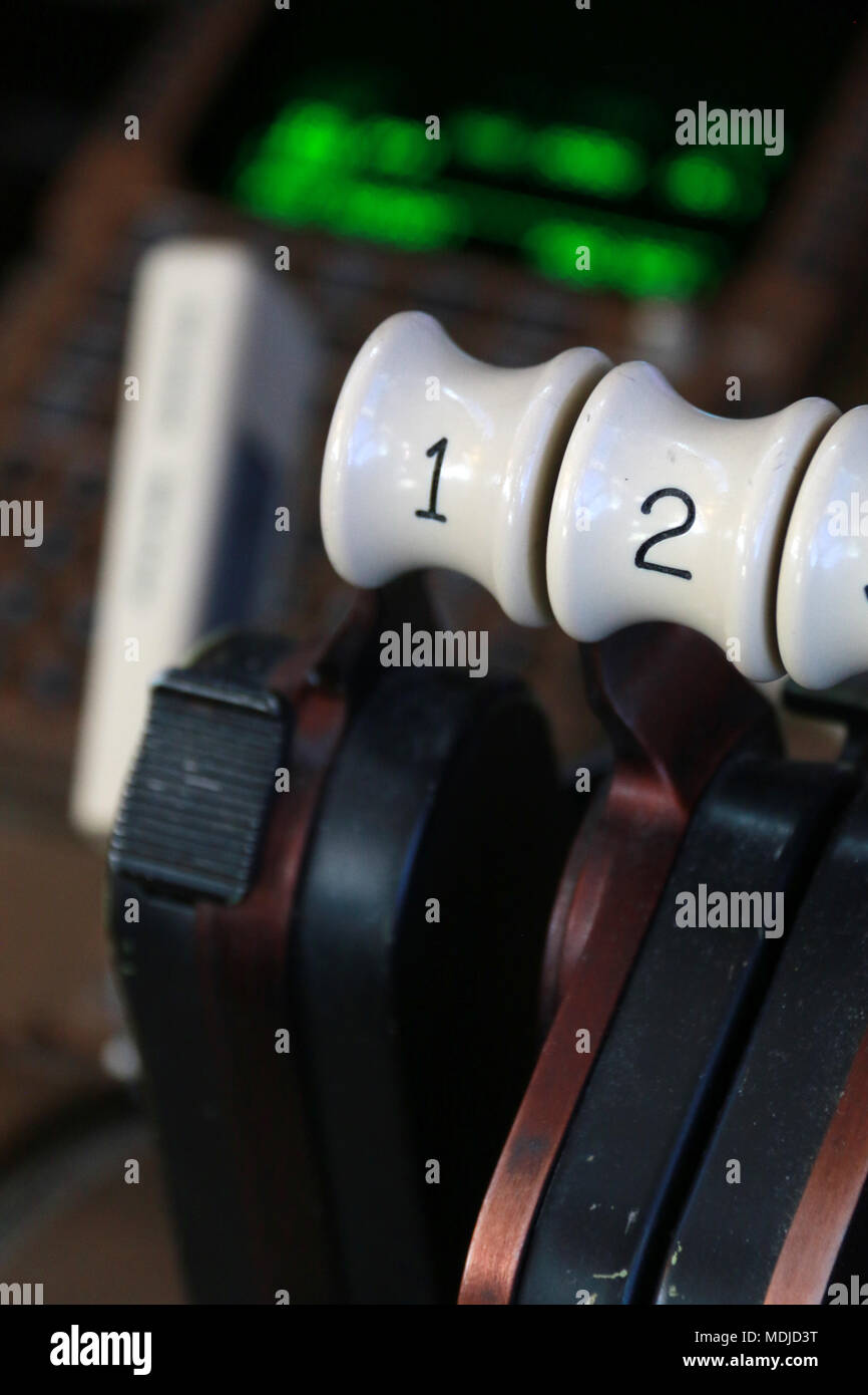 Thrust Levers on the Flight Deck of a Boeing B747-400 - Stock Image