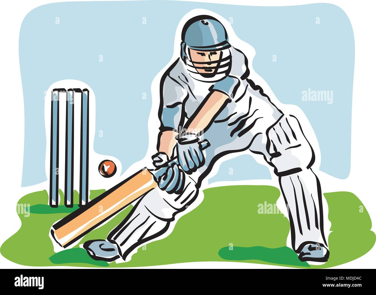 vector Illustration of a cricket player Stock Vector