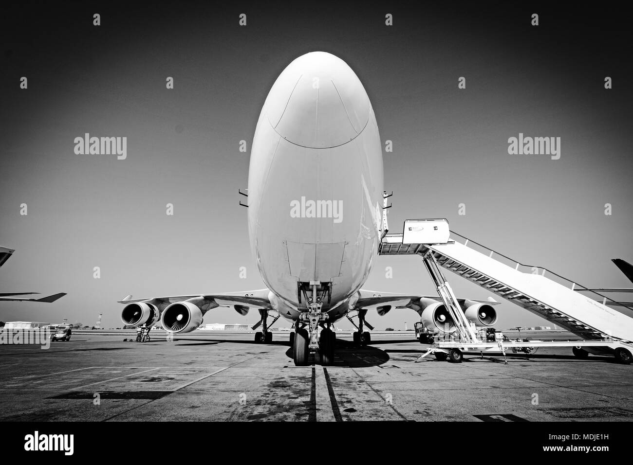 Boeing 747-400SF Freighter parked at the Cargo Ramp - Stock Image