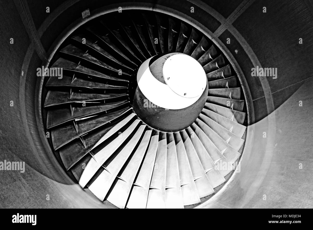 Fan of an Engine of a Boeing 747-400 - Stock Image