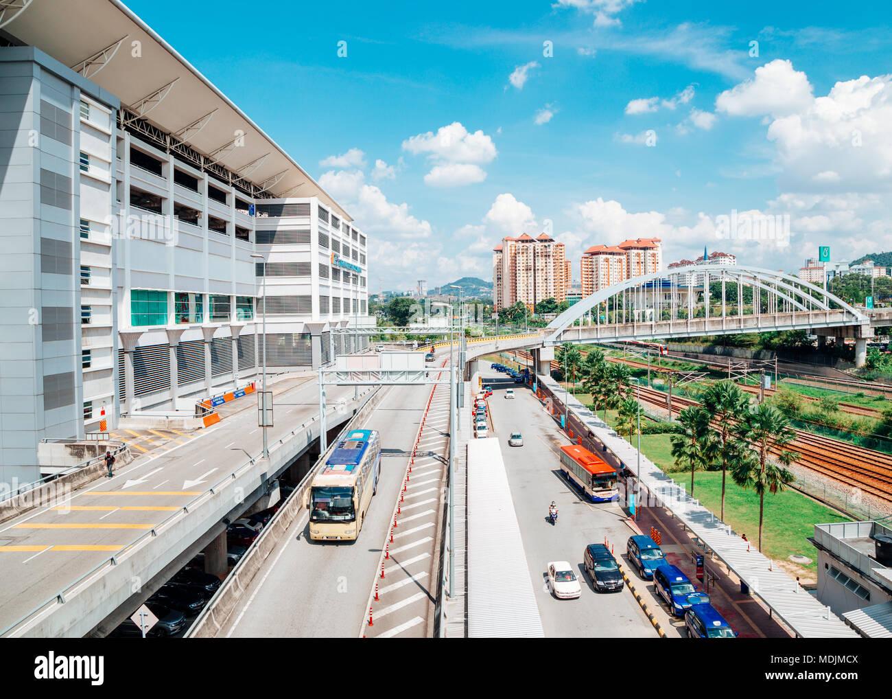 Kuala Lumpur, Malaysia - January 7, 2018 : Bus station TBS Terminal Bersepadu Selatan and Bandar Tasik Selatan Station - Stock Image