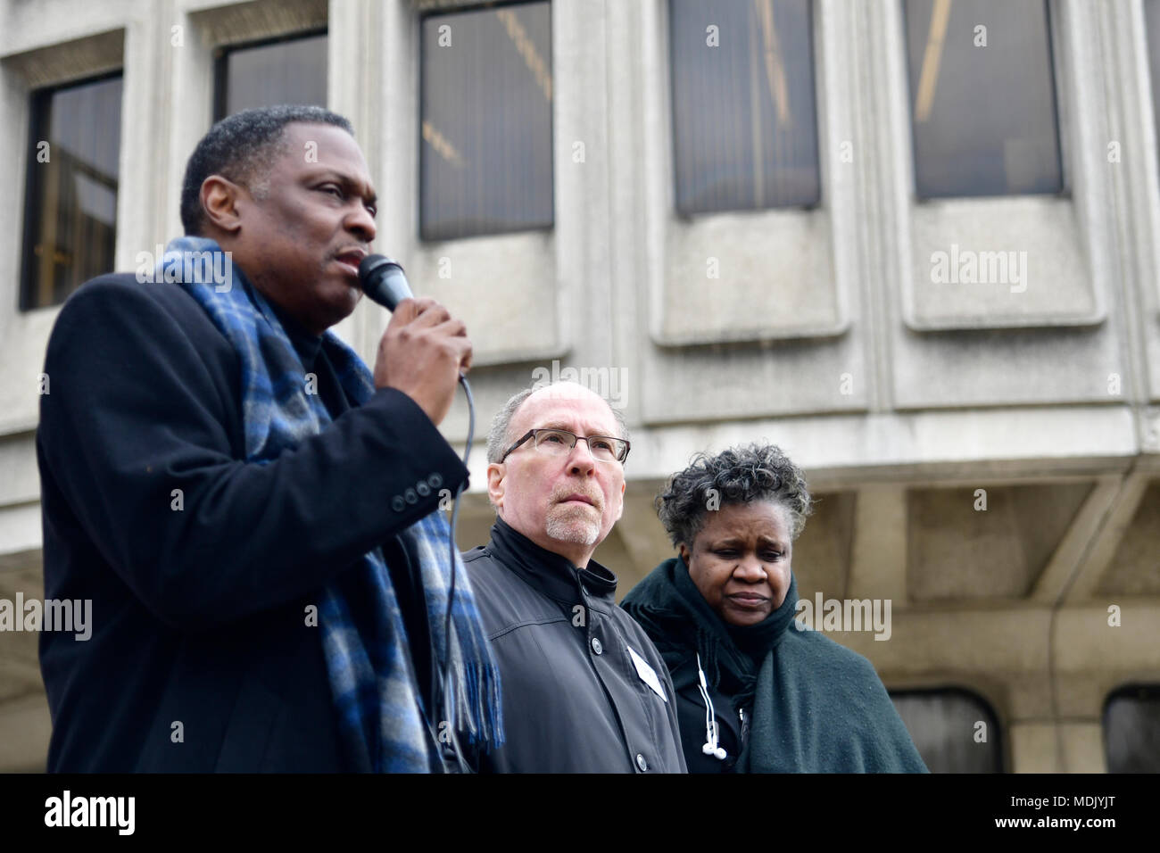 Philadelphia, USA. 19th Apr, 2018. Rev. Greg Holston, Executive Director of Philadelphians Organized to Witness, Empower and Rebuild (POWER), speaks at a Police Accountability rally hosted by POWER outside Police Dept. headquarters in center City Philadelphia, PA, on April19, 2018. Credit: Bastiaan Slabbers/Alamy Live News - Stock Image