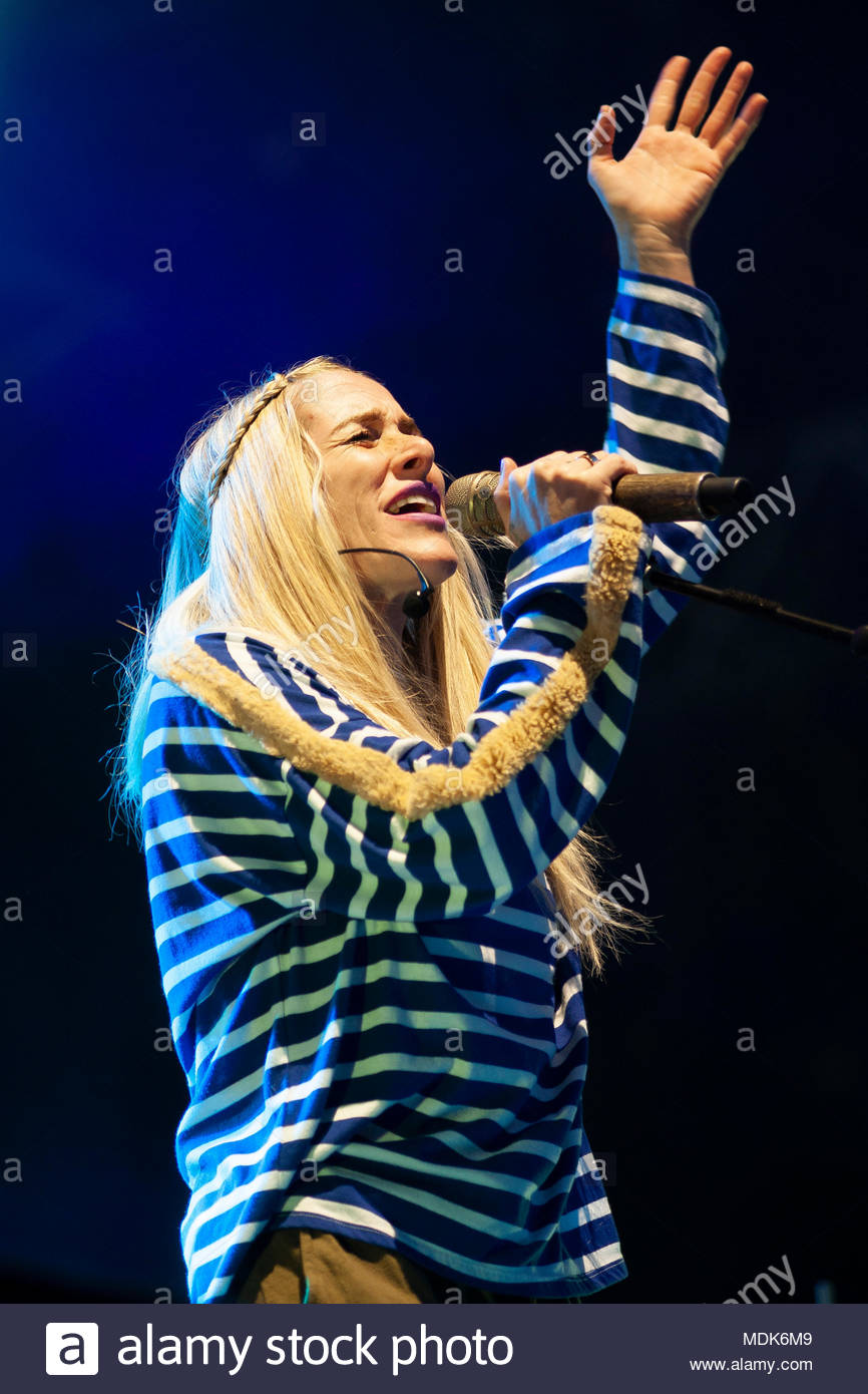 Chamonix, France. 19th April 2018. Canadian band Walk off the earth (singer Sarah Blackwood) performing live at the first edition of MUSILAC Mont-Blanc music festival in Chamonix (France) - Thursday19 april 2018 Credit: Olivier Parent/Alamy Live News - Stock Image