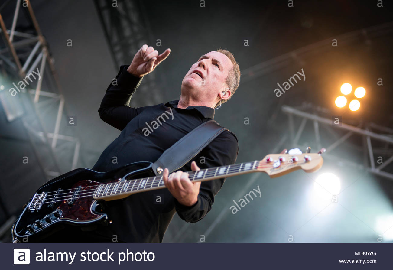 Chamonix, France. 19th April 2018. OMD Orchestral Manoeuvres in the Dark (singer and bass player Andy McCluskey) performing live at the first edition of MUSILAC Mont-Blanc music festival in Chamonix (France) - Thursday19 april 2018 Credit: Olivier Parent/Alamy Live News - Stock Image