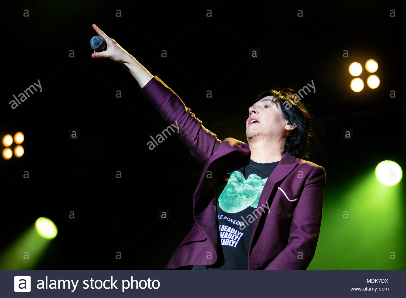 Texas (singer Sharleen Spiteri) performing live at the first edition of MUSILAC Mont-Blanc music festival in Chamonix (France) - Thursday 19 april 2018 - Stock Image