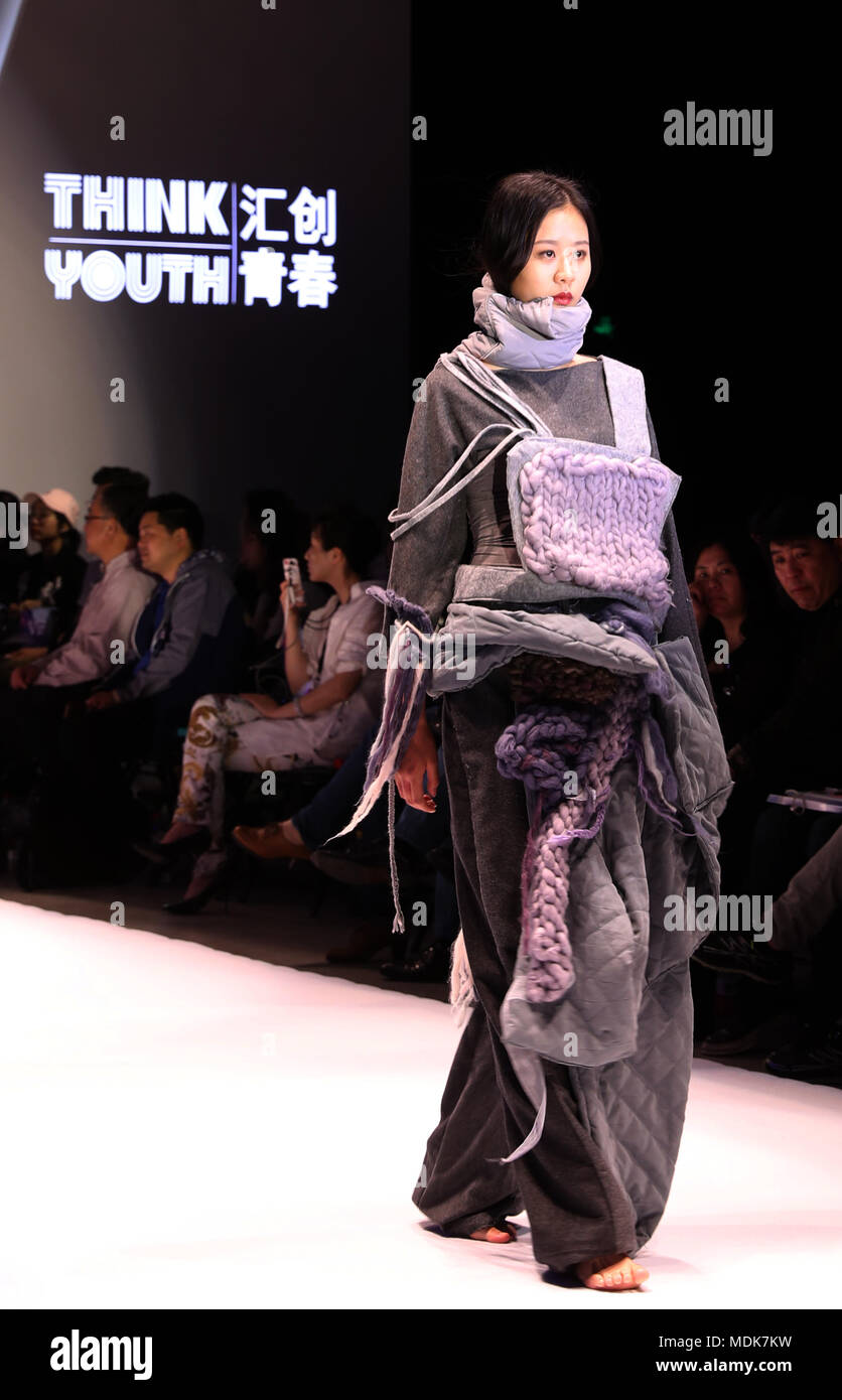 Shanghai China 20th Apr 2018 A Model Shows A Creation During A Fashion Design Contest For