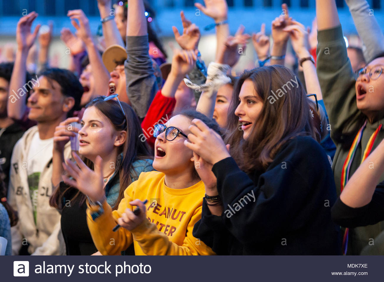 Teenages cheering at the opening of MUSILAC Mont-Blanc music festival in Chamonix (France) - First edition - 2018 Stock Photo