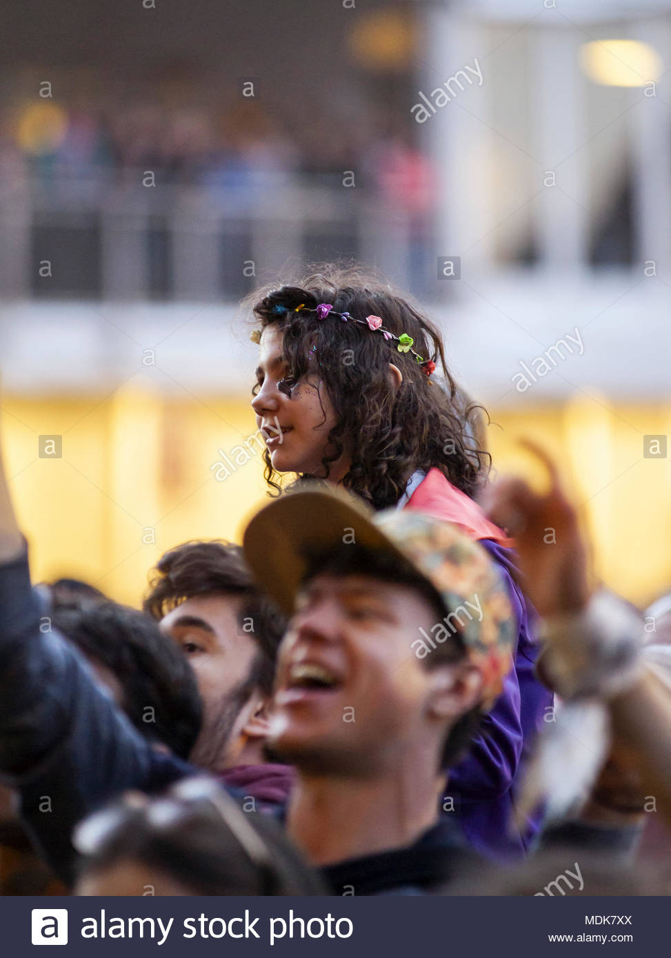Young audience at the opening of MUSILAC Mont-Blanc music festival in Chamonix (France) - First edition - 2018 - Stock Image