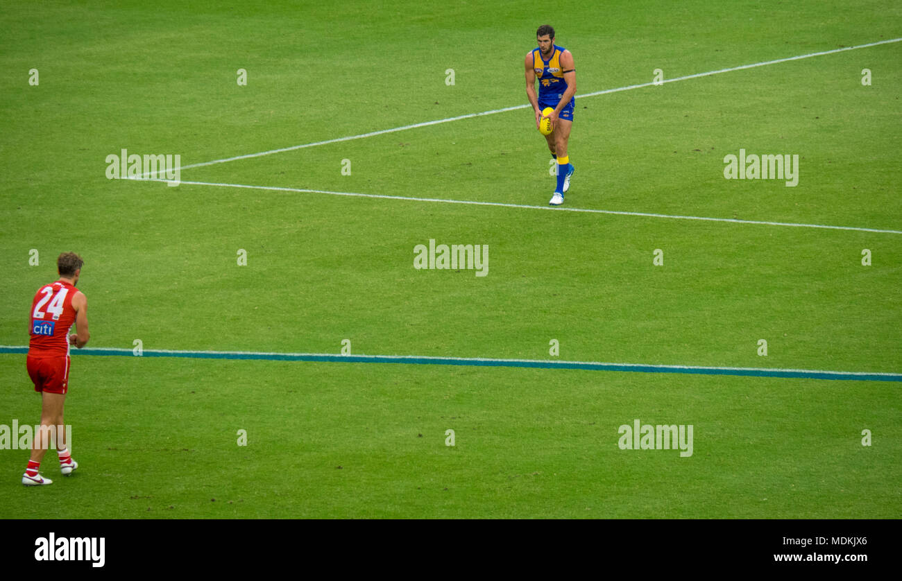 West Coast Eagles player, Jack Darling, lining up to kick the football in a game of Australian Rules Football at Optus Stadium, Perth WA Australia.tur Stock Photo