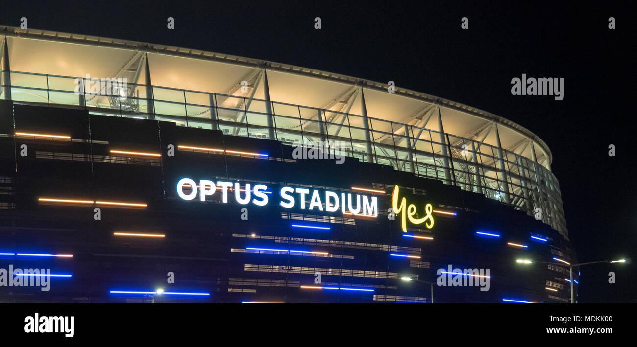 Perth Stadium also known as Optus Stadium lit up at night. - Stock Image