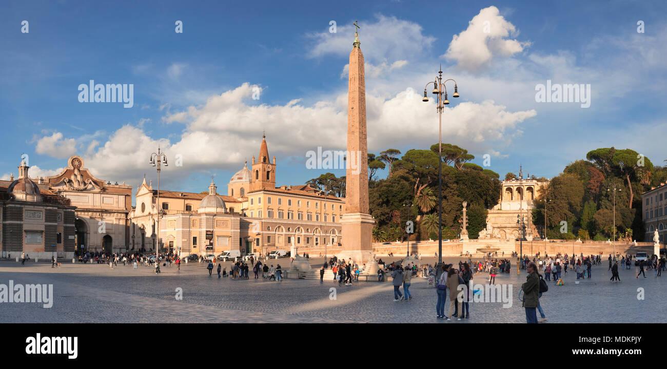 Obelisk, Piazza del Popolo, Rome, Lazio, Italy - Stock Image