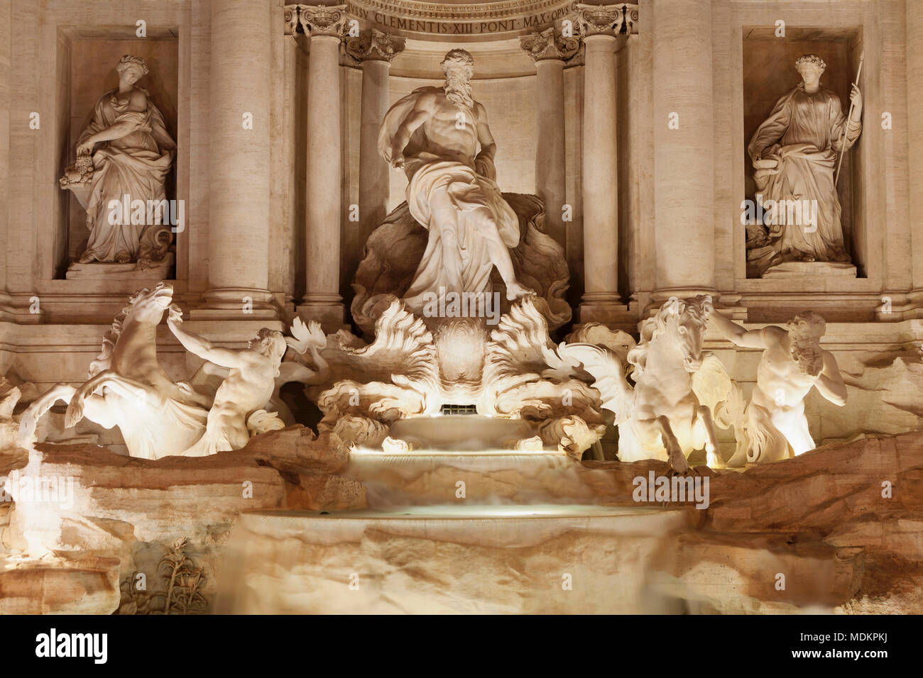 Sea god Oceanus with statues of abundance and healing power, Trevi Fountain, Fontana di Trevi, Rome, Lazio, Italy - Stock Image
