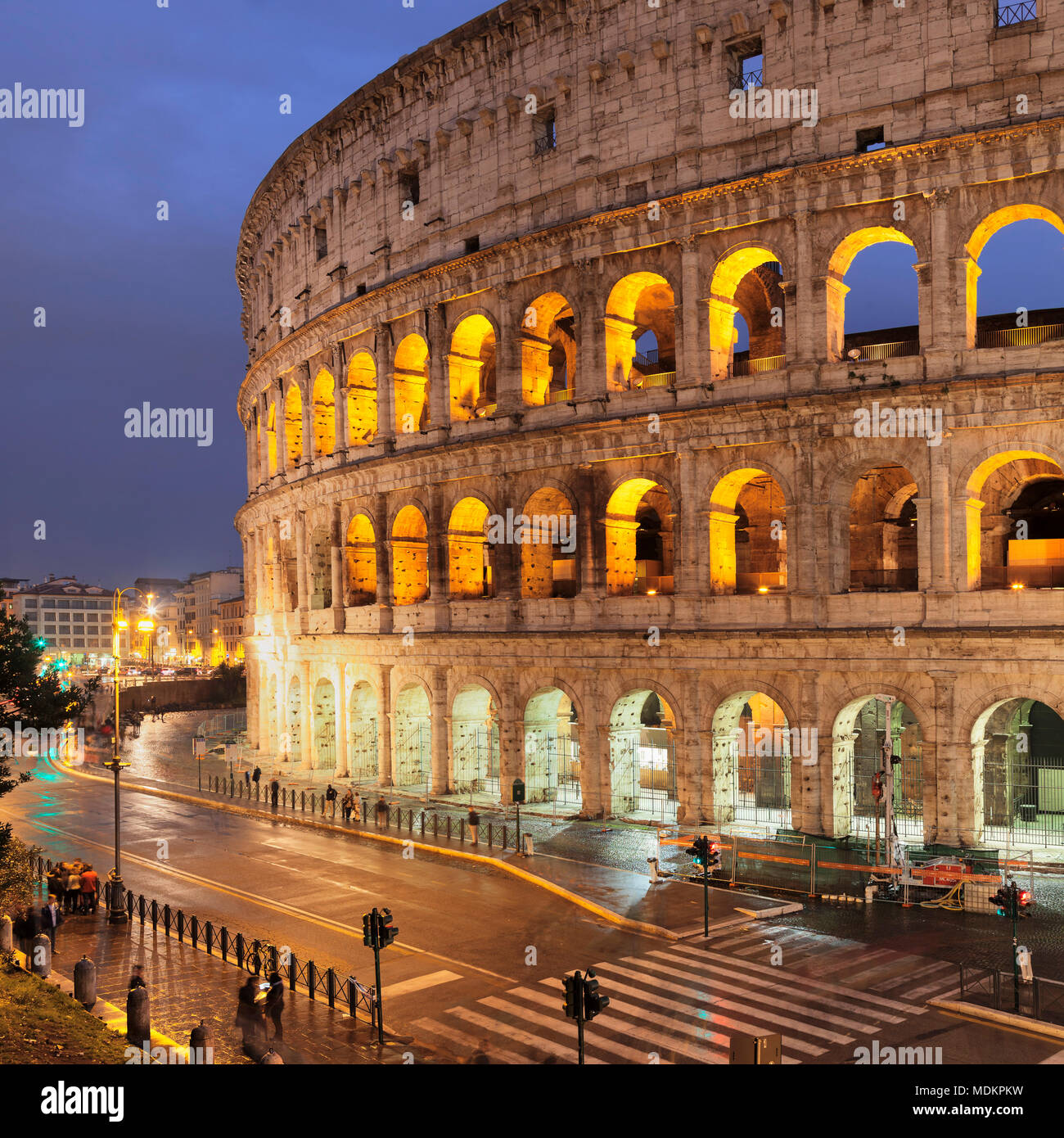 Illuminated Colosseum, Colosseo, UNESCO World Heritage, Rome, Lazio, Italy - Stock Image