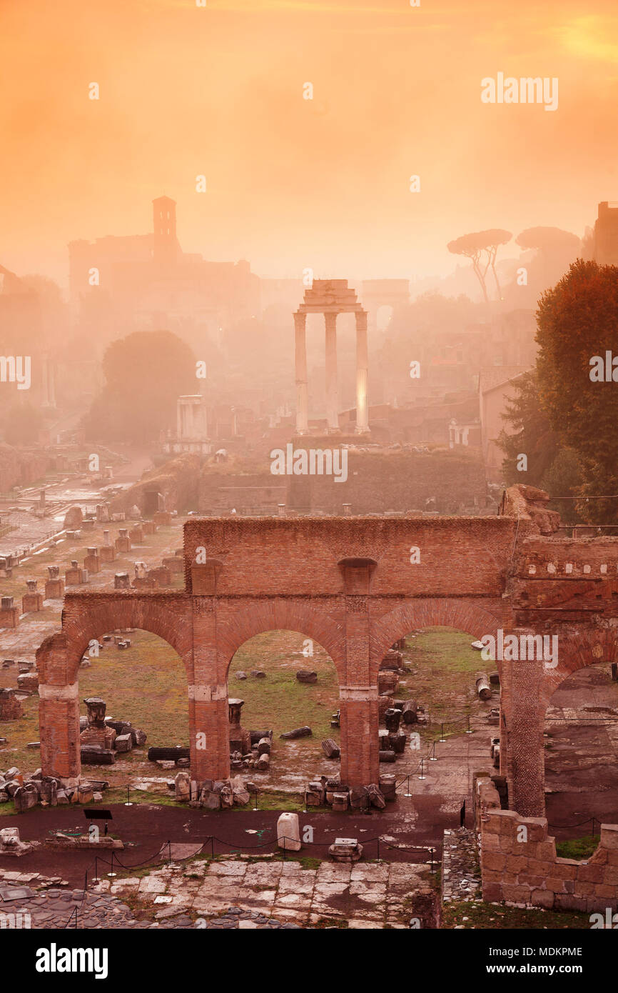 Roman Forum in the morning mist at sunrise, Foro Romano, Rome, Lazio, Italy - Stock Image
