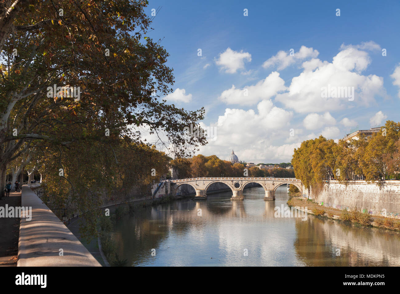 View over the Tiber to Ponte Garibaldi Bridge and St. Peter's Basilica, Rome, Lazio, Italy - Stock Image