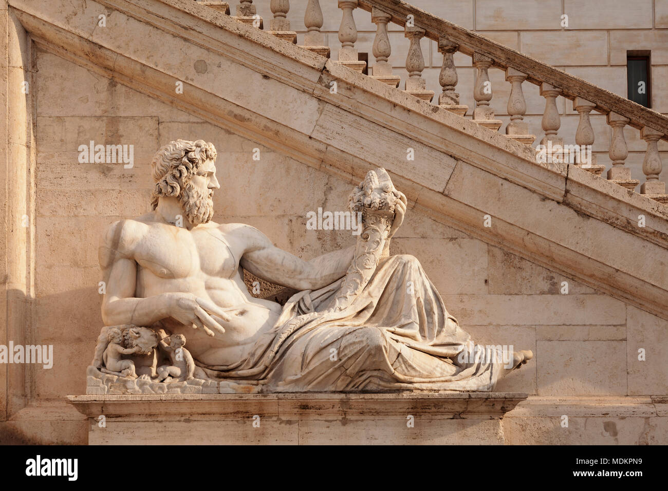 Statue of the Tiber River God on Capitol Square, Piazza del Campidoglio, Rome, Lazio, Italy - Stock Image