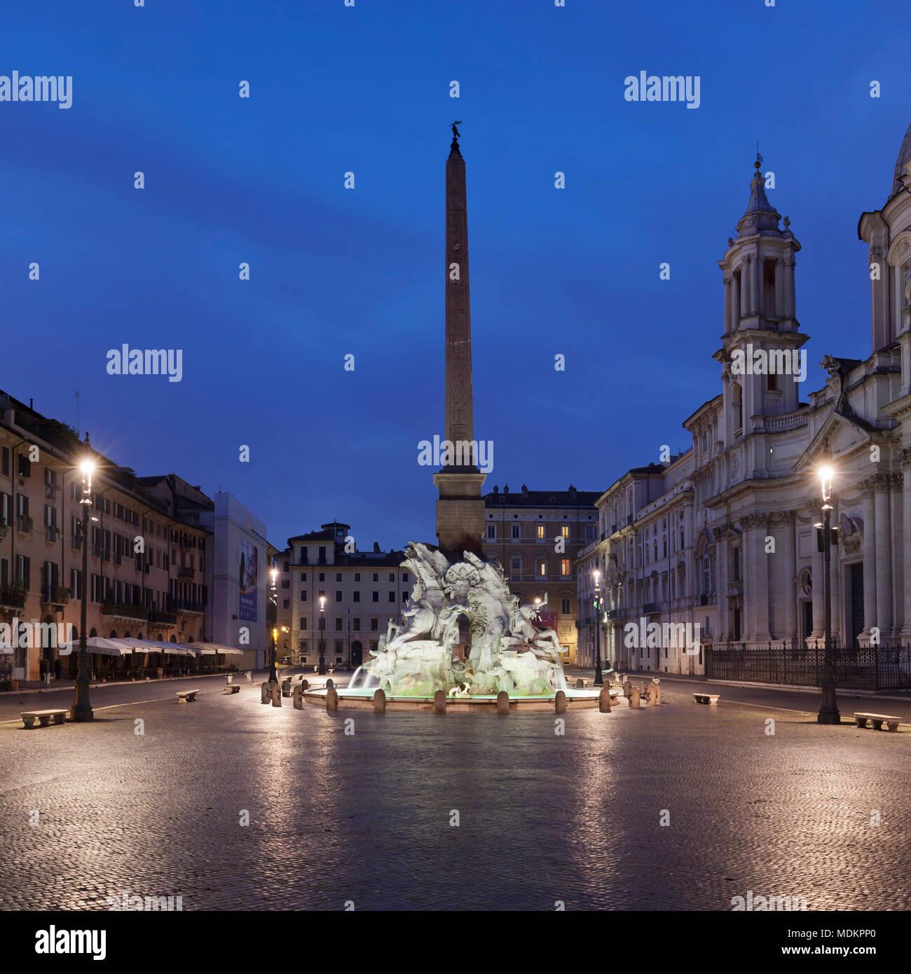 Fontana dei Quattro Fiumi, Four Stream Fountain, Piazza Navona, Rome, Lazio, Italy - Stock Image