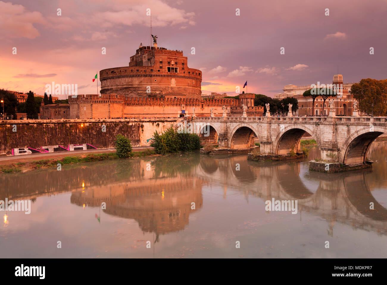 Engelsburg and Engelsbrücke, Dawn, Rome, Lazio, Italy Stock Photo