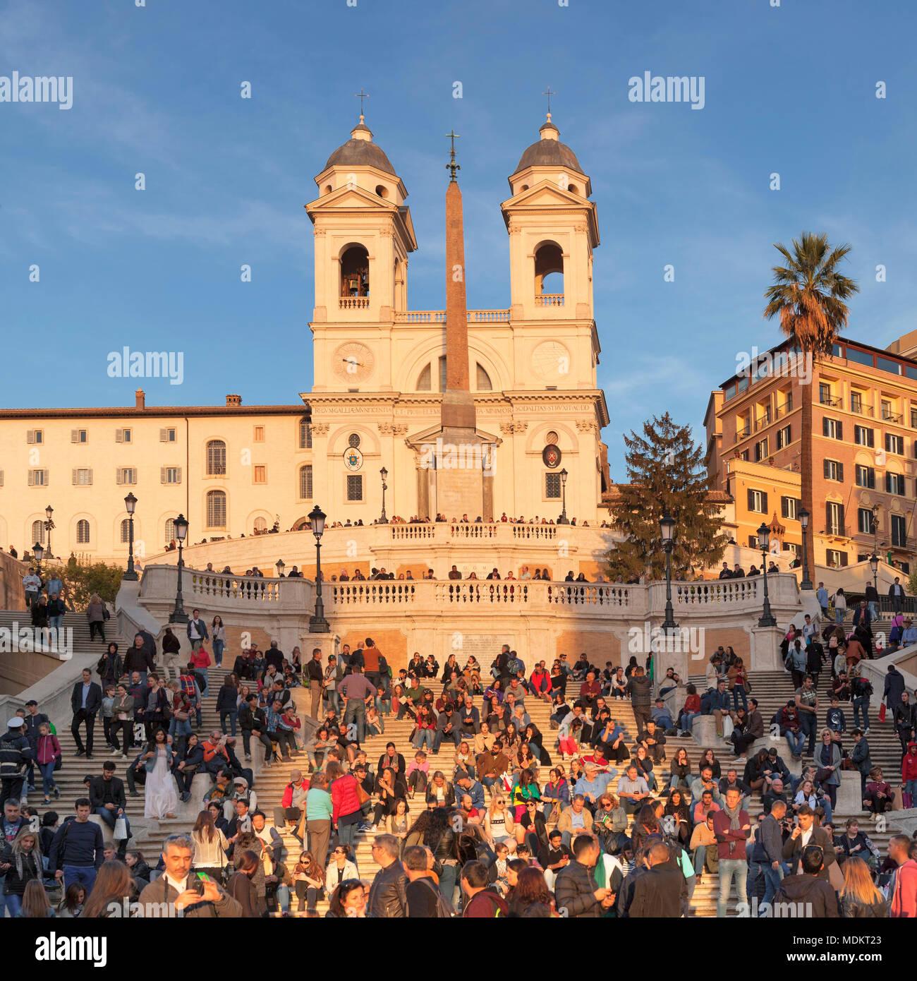 Spanish stairs with church Santa Trinita dei Monti, Piazza di Spagna, Rome, Lazio, Italy - Stock Image
