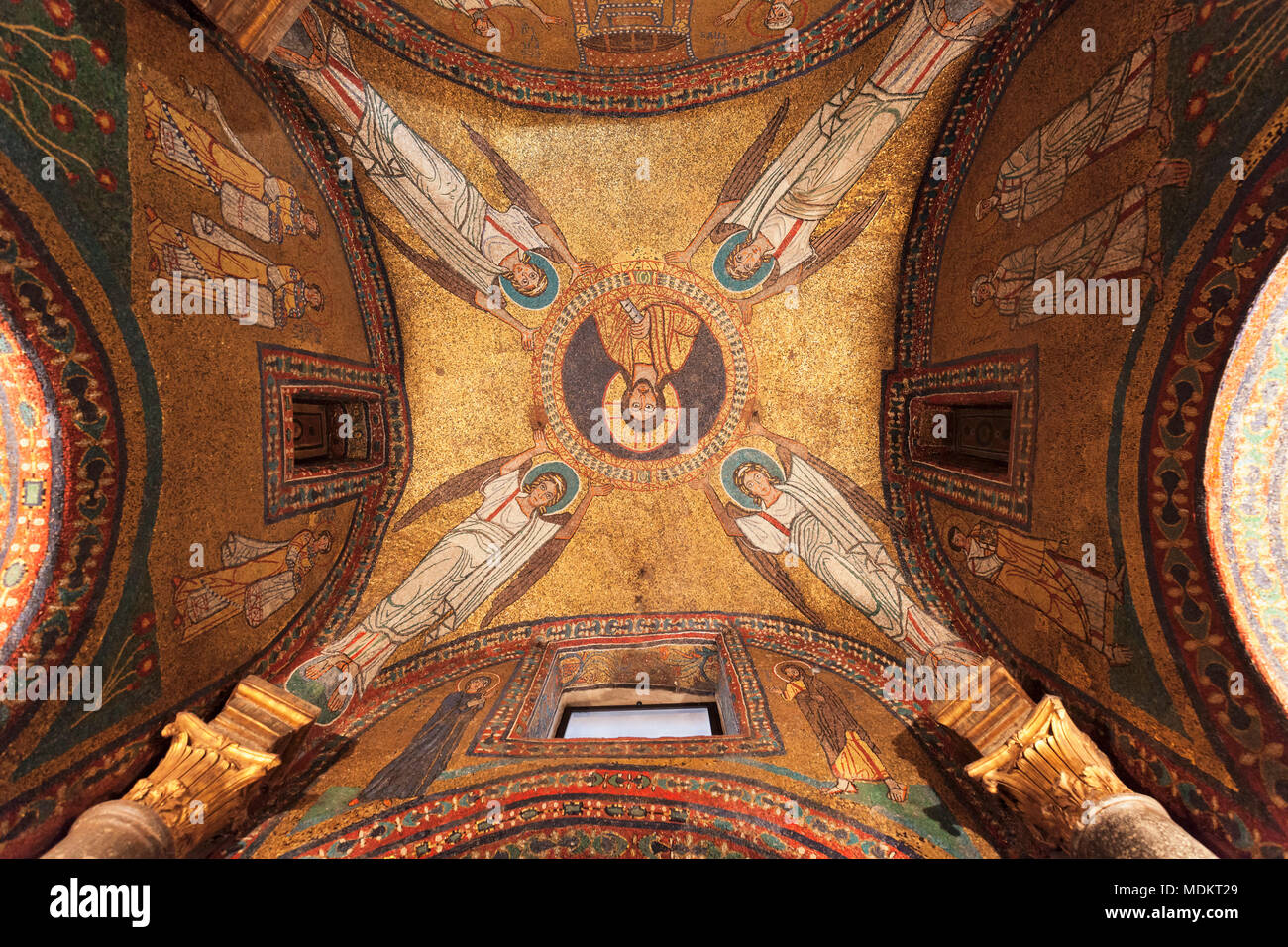 Interior view, ceiling vault, mosaic in the dome of Zeno Chapel, Basilica Santa Prassede, Rome, Lazio, Italy - Stock Image