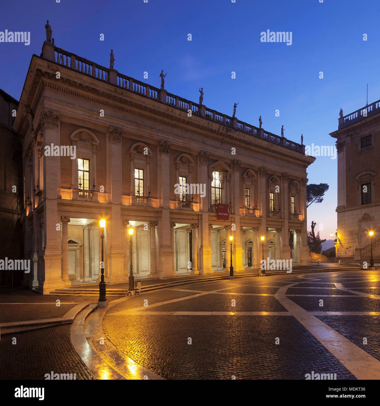 Capitoline Museums on Capitol Square, Piazza del Campidoglio, dusk, Palazzo Nuovo, Rome, Lazio, Italy - Stock Image