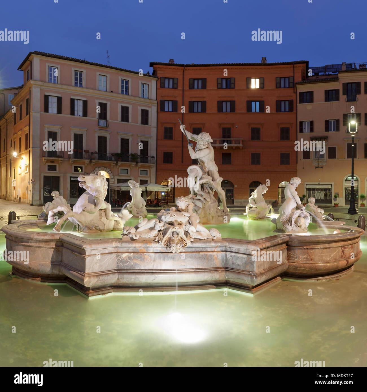Neptune Fountain, Fontana del Nettuno, Piazza Navona, Rome, Lazio, Italy - Stock Image