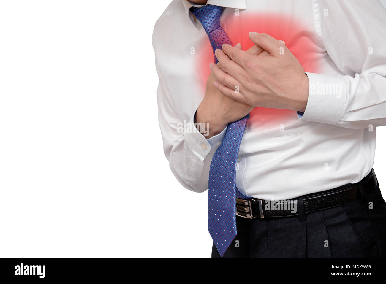 Businessman with heart attack. With copy space. Stock Photo