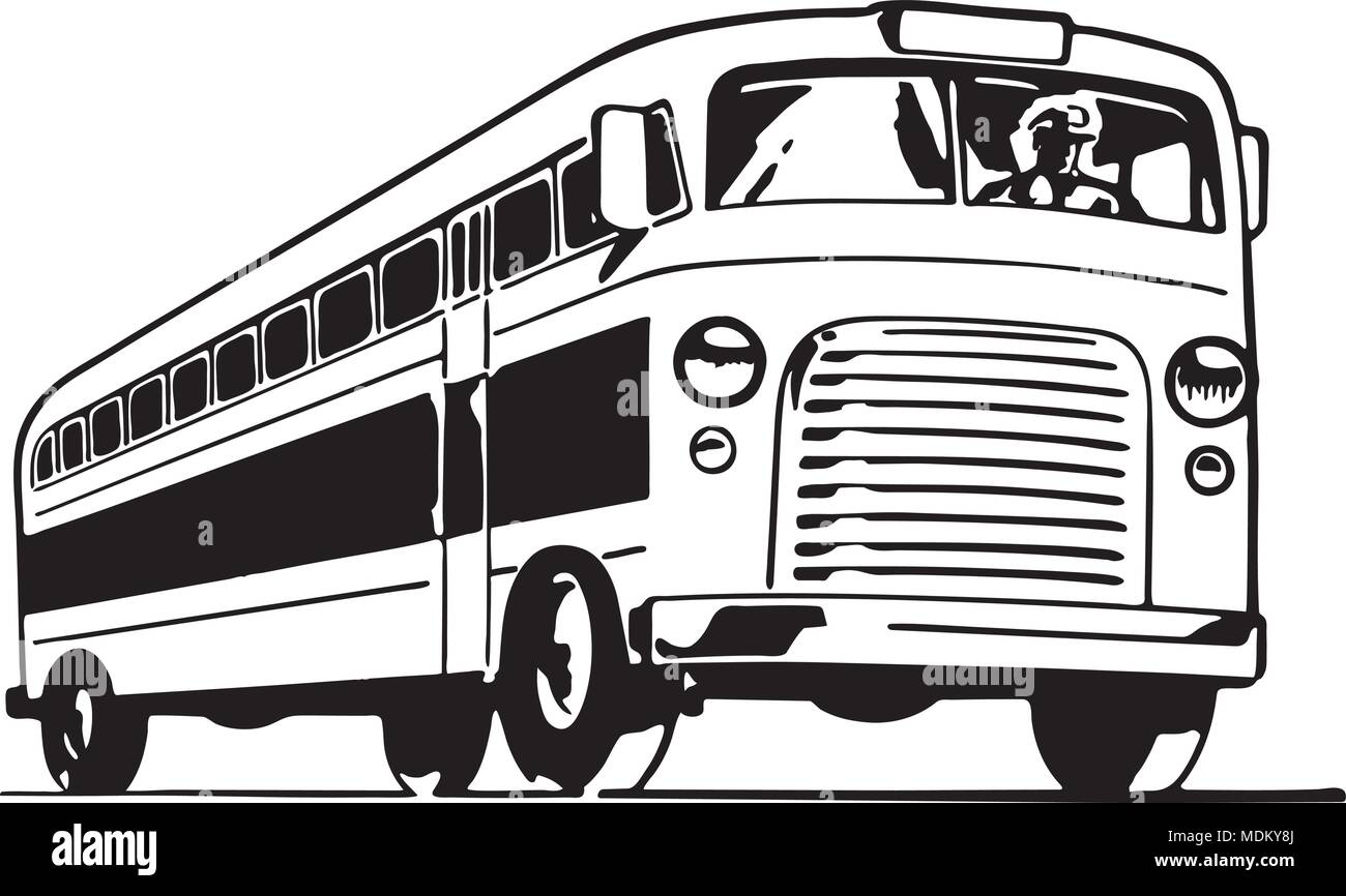 Bus - Retro Ad Art Illustration - Stock Vector