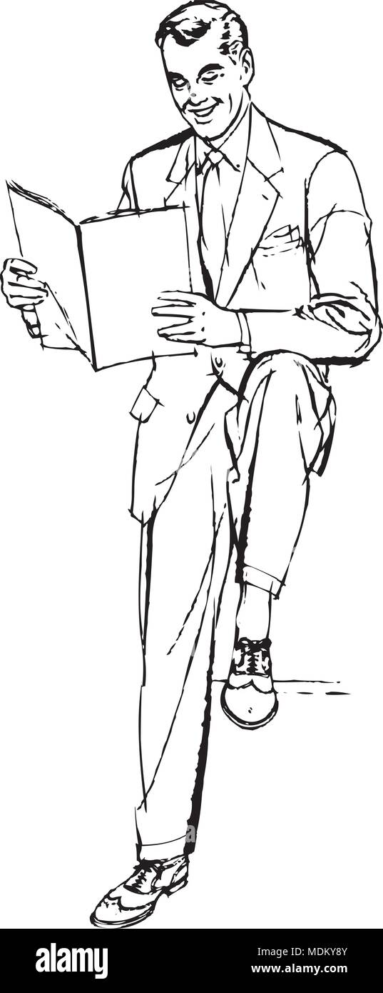 Business Man Reading - Retro Clipart Illustration - Stock Image